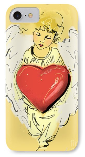 IPhone Case featuring the painting Angel Red Heart by Go Van Kampen