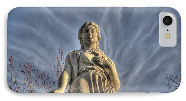 Angel Statue With Cross IPhone Case by Cat Whipple