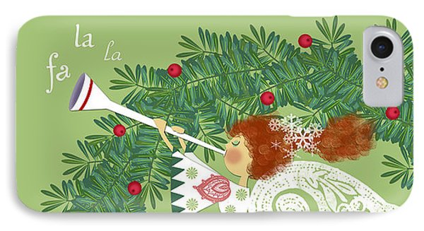 Angel With Christmas Wreath IPhone Case by Valerie Drake Lesiak