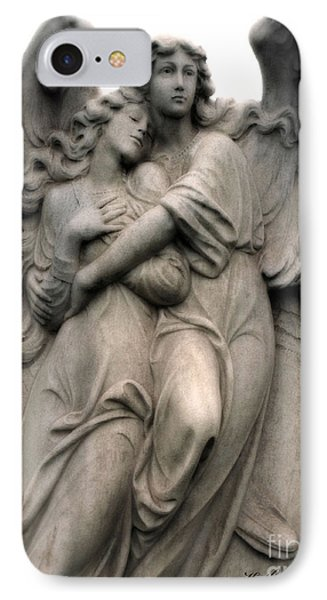 Angels Embracing - Angels Dreamy Romantic Angel Art - Guardian Angel Art  IPhone Case by Kathy Fornal