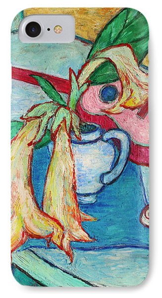 IPhone Case featuring the painting Angel's Trumpet Flowers And A Ukulele by Xueling Zou