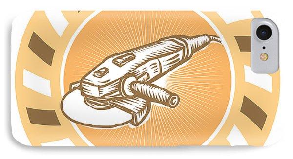 Angle Grinder Power Tool Woodcut Retro Phone Case by Aloysius Patrimonio