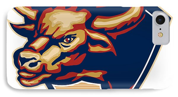 Angry Bull Head Crest Retro IPhone Case by Aloysius Patrimonio