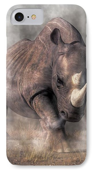 Angry Rhino IPhone Case by Daniel Eskridge