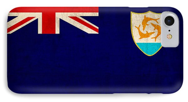 Anguilla Flag Vintage Distressed Finish IPhone Case by Design Turnpike
