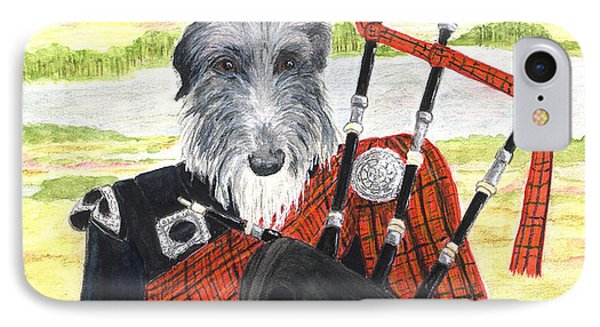IPhone Case featuring the painting Angus The Piper by Stephanie Grant