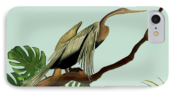 IPhone Case featuring the painting Anhinga Bird by Anne Beverley-Stamps