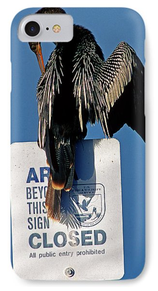 Anhinga Perched On A Signpost IPhone Case