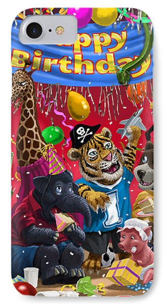 Animal Birthday Party Phone Case by Martin Davey