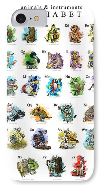 Animals And Instruments Alphabet IPhone Case by Sean Hagan
