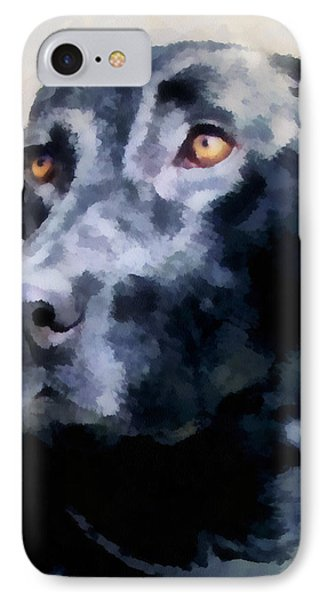 animals - dogs - Black Lab Phone Case by Ann Powell