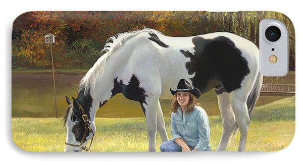 Anita And Horse IPhone Case by Laurie Hein