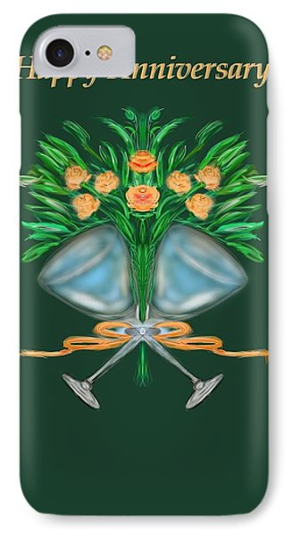 IPhone Case featuring the digital art Anniversary Bouquet by Christine Fournier