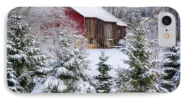 Another Wintry Barn Phone Case by Joan Carroll