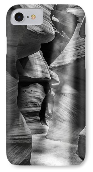 Antelope Canyon Light Beam Black And White IPhone Case