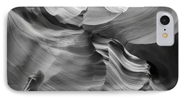 Antelope Canyon Rock Formations Bw IPhone Case by Melanie Viola