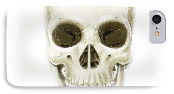 Anterior View Of Human Skull IPhone Case by Alan Gesek