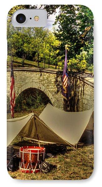 Antietam - 8th Connecticut Volunteer Infantry-a1 Encampment Near The Foot Of Burnsides Bridge Phone Case by Michael Mazaika