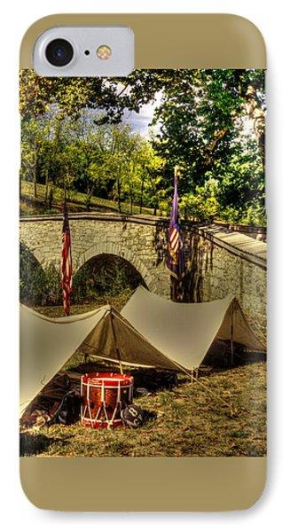 Antietam - 8th Connecticut Volunteer Infantry-a1 Encampment Near The Foot Of Burnsides Bridge IPhone Case
