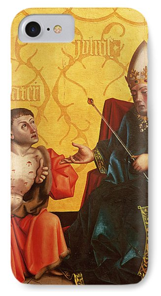 Antipater Kneeling Before Juilus Caesar, From The Mirror Of Salvation Altarpiece, C.1435 Tempera IPhone Case by Konrad Witz