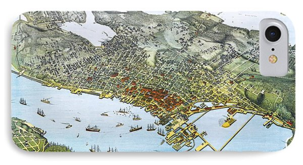 Antique 1891 Seattle Map IPhone Case