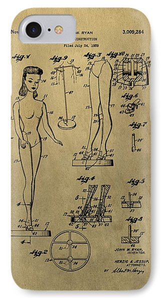Antique Barbie Doll Patent IPhone Case by Dan Sproul