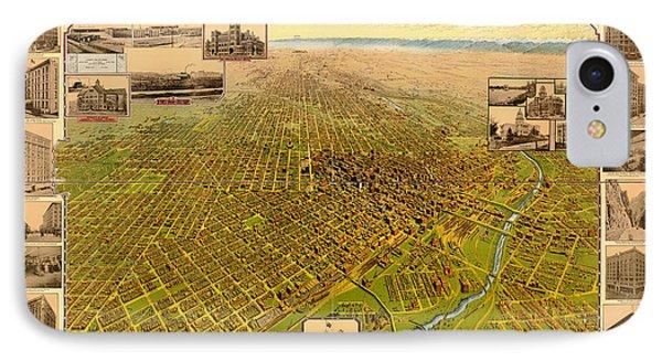 Antique Bird's-eye View Map Of Denver 1908 IPhone Case