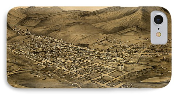 Antique Bird's-eye View Map Of Helena Montana 1875 IPhone Case by Mountain Dreams