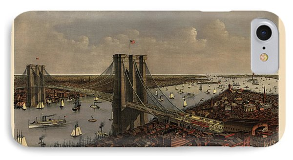 Antique Birds Eye View Of The Brooklyn Bridge And New York City By Currier And Ives - 1885 IPhone Case by Blue Monocle