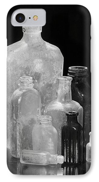 Antique Bottles 4 Black And White Phone Case by Phyllis Denton