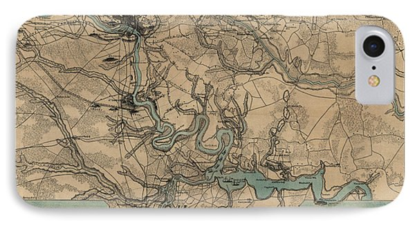 Antique Civil War Map Of Richmond And Petersburg Virginia By William C. Hughes - Circa 1864 IPhone Case by Blue Monocle
