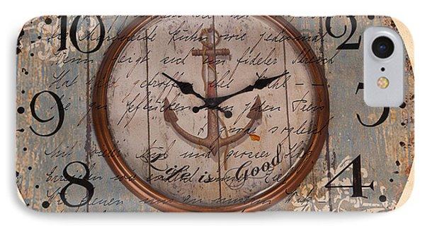 Antique Clock Anchor Vintage Wallpaper IPhone Case by Art World