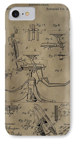 Antique Dental Chair Patent Phone Case by Dan Sproul