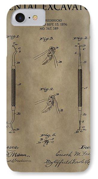 Antique Dental Excavator Patent IPhone Case by Dan Sproul