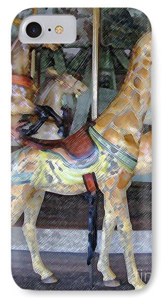 Antique Dentzel Menagerie Carousel Giraffe Colored Pencil Effect IPhone Case by Rose Santuci-Sofranko
