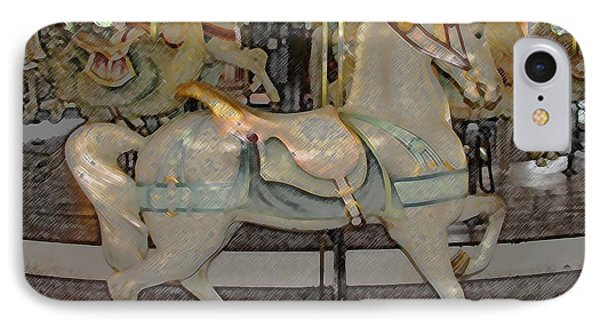 Antique Dentzel Menagerie Carousel Horse Colored Pencil Effect IPhone Case by Rose Santuci-Sofranko