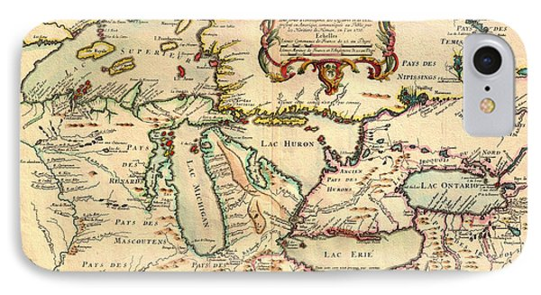 Antique French Map Of The Great Lakes 1755 IPhone Case