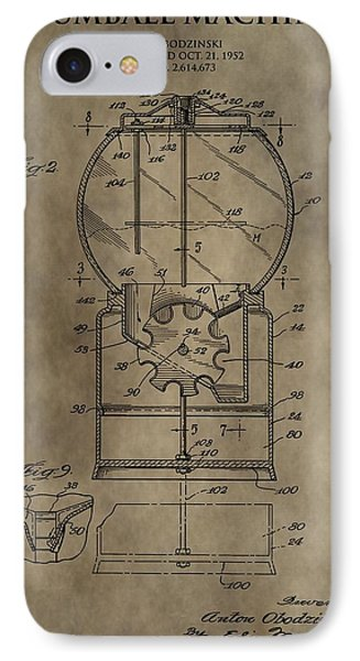 Antique Gumball Machine Patent IPhone Case by Dan Sproul