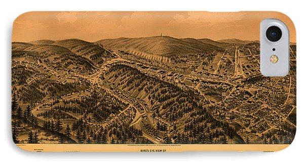 Antique Illustrative Map Of Hot Springs Arkansas 1888 IPhone Case