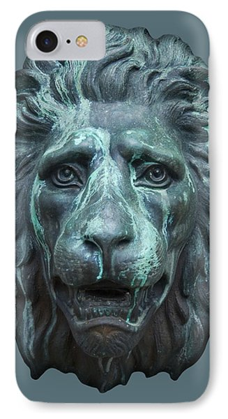 Antique Lion Face In Blue IPhone Case by Jane McIlroy