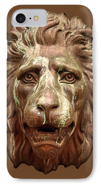 Antique Lion Face In Brown IPhone Case by Jane McIlroy
