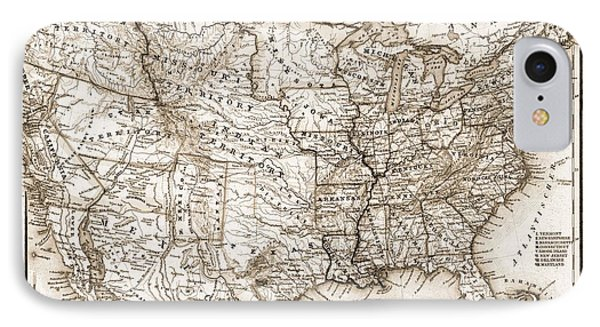 Antique Map 1853 United States Of America Phone Case by Dan Sproul
