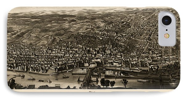 Antique Map Of Albany New York By H.h. Rowley And Co. - 1879 IPhone Case by Blue Monocle