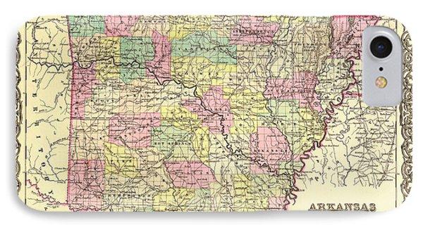 Antique Map Of Arkansas 1855 IPhone Case
