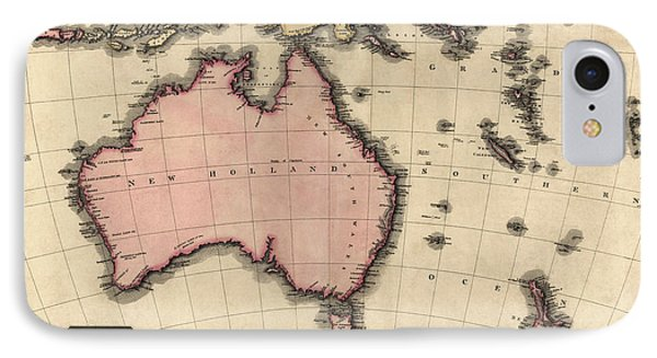 Antique Map Of Australia And The Pacific Islands By John Pinkerton - 1818 IPhone Case by Blue Monocle