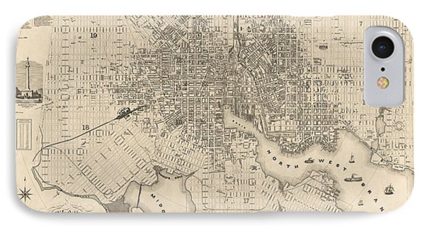 Antique Map Of Baltimore Maryland By Sidney And Neff - 1851 IPhone Case by Blue Monocle