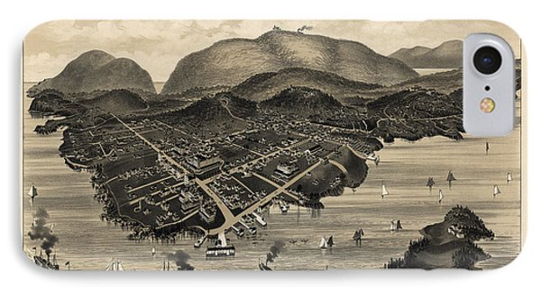 Antique Map Of Bar Harbor Maine By G. W. Morris - 1886 IPhone Case by Blue Monocle