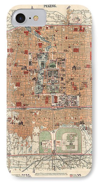 Antique Map Of Beijing China - 1914 IPhone Case by Blue Monocle