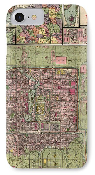 Antique Map Of Beijing China By Jiarong Su - 1921 IPhone Case by Blue Monocle