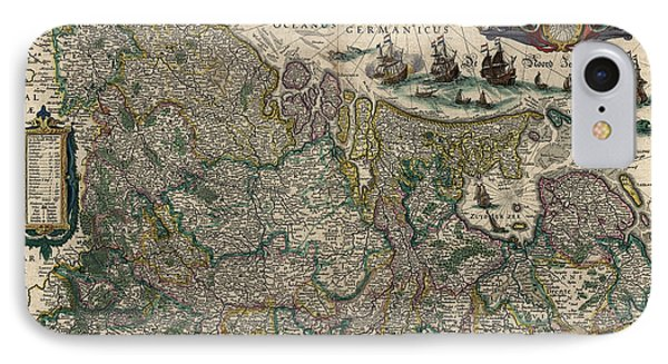 IPhone Case featuring the drawing Antique Map Of Belgium And The Netherlands By Willem Janszoon Blaeu - 1647 by Blue Monocle